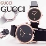 GUCCI-035 人氣熱銷單品情侶款大中小號玫瑰金黑底皮帶款進口石英腕錶