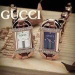 GUCCI-068 夏季新款精緻女士玫瑰金鑲鑽竹節元素藍寶石玻璃手鏈款石英腕錶