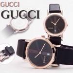 GUCCI-037 人氣熱銷單品情侶款大中小號玫瑰金黑底皮帶款進口石英腕錶