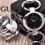 GUCCI-053 時尚新款女士316L精鋼礦物質閃亮銀黑底高硬度玻璃手鏈款進口石英腕錶