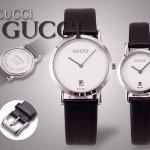 GUCCI-031 人氣熱銷單品情侶款大中小號閃亮銀白底皮帶款進口石英腕錶