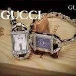 GUCCI-067 夏季新款精緻女士閃亮銀鑲鑽竹節元素藍寶石玻璃手鏈款石英腕錶