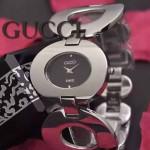 GUCCI-064 時尚優雅前衛女士閃亮銀黑底316L精鋼鏈條款進口石英腕錶