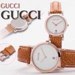 GUCCI-036 人氣熱銷單品情侶款大中小號玫瑰金白底皮帶款進口石英腕錶
