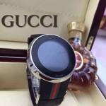 GUCCI-044 潮流炫酷商務男士閃亮銀黑色皮帶款進口鋼化藍光玻璃電子手錶