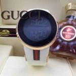 GUCCI-042 潮流炫酷商務男士土豪金白色皮帶款進口鋼化藍光玻璃電子手錶