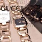 GUCCI-047 時尚新款女士316L精鋼礦物質土豪金黑底高硬度玻璃鏈條款進口石英腕錶