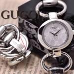GUCCI-055 時尚新款女士316L精鋼礦物質閃亮銀白底高硬度玻璃手鏈款進口石英腕錶