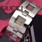 GUCCI-062 時尚優雅前衛女士閃亮銀316L精鋼鏈條款進口石英腕錶