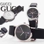 GUCCI-033 人氣熱銷單品情侶款大中小號閃亮銀黑底皮帶款進口石英腕錶