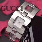 GUCCI-063 時尚優雅前衛女士閃亮銀白底316L精鋼鏈條款進口石英腕錶