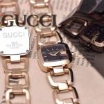 GUCCI-050 時尚新款女士316L精鋼礦物質土豪金黑底高硬度玻璃鏈條款進口石英腕錶