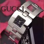 GUCCI-061 時尚優雅前衛女士閃亮銀黑底316L精鋼鏈條款進口石英腕錶