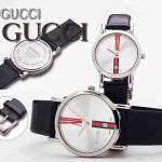 GUCCI-034 人氣熱銷單品情侶款大中小號閃亮銀白底皮帶款進口石英腕錶