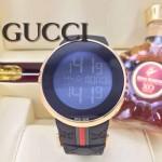 GUCCI-041 潮流炫酷商務男士土豪金黑色皮帶款進口鋼化藍光玻璃電子手錶