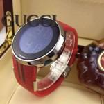 GUCCI-043 潮流炫酷商務男士閃亮銀紅色皮帶款進口鋼化藍光玻璃電子手錶