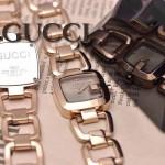 GUCCI-048 時尚新款女士316L精鋼礦物質土豪金銀底高硬度玻璃鏈條款進口石英腕錶