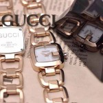 GUCCI-049 時尚新款女士316L精鋼礦物質土豪金白底高硬度玻璃鏈條款進口石英腕錶