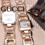 GUCCI-052 時尚新款女士316L精鋼礦物質土豪金白底高硬度玻璃鏈條款進口石英腕錶