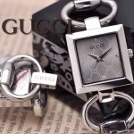 GUCCI-056 時尚新款女士316L精鋼礦物質閃亮銀銀底高硬度玻璃手鏈款進口石英腕錶