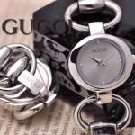 GUCCI-054 時尚新款女士316L精鋼礦物質閃亮銀銀底高硬度玻璃手鏈款進口石英腕錶