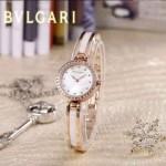 Bvlgari-48 人氣百搭新款土豪金白底鑲鑽藍寶石鏡面鋼間陶瓷女士石英腕錶