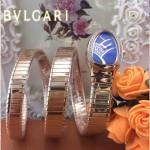 Bvlgari-50 歐美個性SERPENT I系列土豪金鑲鑽316L精鋼錶殼彈簧蛇形進口石英腕錶