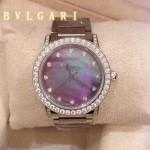 Bvlgari-70 高貴奢華女士新款施華洛世奇水鑽系列電鍍幻彩貝母表面鋼帶款腕錶