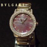 Bvlgari-82 高貴奢華女士新款施華洛世奇水鑽系列電鍍土豪金紅色貝母表面鋼帶款腕錶