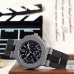 Bvlgari-68 時尚商務男士DLC防刮磨表面跑秒功能緞紋精鋼節橡膠進口石英腕錶
