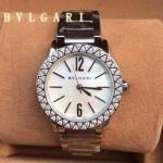 Bvlgari-91 名媛必備新款珍寶系列閃亮銀白底鑲鑽藍寶石鏡面316L精鋼錶殼日本石英腕錶