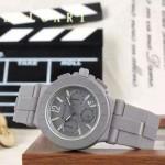 Bvlgari-64 時尚商務男士灰色DLC防刮磨表面跑秒功能緞紋精鋼節橡膠進口石英腕錶
