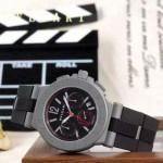 Bvlgari-66 時尚商務男士紅色DLC防刮磨表面跑秒功能緞紋精鋼節橡膠進口石英腕錶