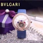 Bvlgari-59 時尚創意珠寶系列土豪金藍色鑲鑽飛輪顯示316L精鋼錶殼皮帶款自動機械腕錶