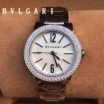 Bvlgari-93 名媛必備新款珍寶系列閃亮銀白底鑲鑽藍寶石鏡面316L精鋼錶殼日本石英腕錶