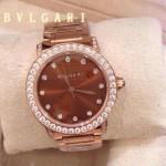 Bvlgari-81 高貴奢華女士新款施華洛世奇水鑽系列電鍍玫瑰金橙色貝母表面鋼帶款腕錶