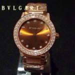 Bvlgari-76 高貴奢華女士新款施華洛世奇水鑽系列電鍍土豪金橙色貝母表面鋼帶款腕錶