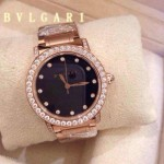 Bvlgari-78 高貴奢華女士新款施華洛世奇水鑽系列電鍍玫瑰金黑色貝母表面鋼帶款腕錶