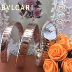 Bvlgari-51 歐美個性SERPENT I系列玫瑰金鑲鑽316L精鋼錶殼彈簧蛇形進口石英腕錶