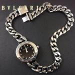 Bvlgari-84 時尚優雅高貴女士Catene系列黑色鑲鑽手鏈款進口石英腕錶