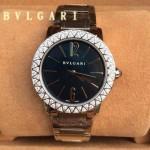 Bvlgari-90 名媛必備新款珍寶系列閃亮銀黑底鑲鑽藍寶石鏡面316L精鋼錶殼日本石英腕錶