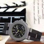 Bvlgari-67 時尚商務男士黃色DLC防刮磨表面跑秒功能緞紋精鋼節橡膠進口石英腕錶