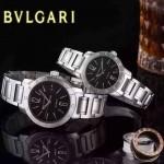 Bvlgari-33 人氣熱銷單品古羅馬元素閃亮銀黑底情侶款瑞士ETA2824機械腕錶