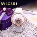 Bvlgari-58 時尚創意珠寶系列土豪金白色鑲鑽飛輪顯示316L精鋼錶殼皮帶款自動機械腕錶