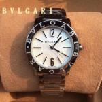 Bvlgari-94 名媛必備新款珍寶系列閃亮銀白底藍寶石鏡面316L精鋼錶殼日本石英腕錶