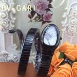 Bvlgari-55 歐美個性SERPENT I系列槍色鑲鑽316L精鋼錶殼彈簧蛇形進口石英腕錶