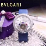 Bvlgari-62 時尚創意珠寶系列閃亮銀藍色鑲鑽飛輪顯示316L精鋼錶殼皮帶款自動機械腕錶