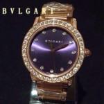 Bvlgari-74 高貴奢華女士新款施華洛世奇水鑽系列電鍍土豪金紫色貝母表面鋼帶款腕錶