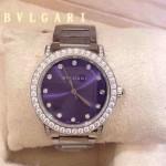 Bvlgari-73 高貴奢華女士新款施華洛世奇水鑽系列電鍍閃亮銀紫色貝母表面鋼帶款腕錶