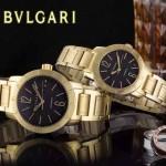 Bvlgari-45 人氣熱銷單品古羅馬元素土豪金黑底情侶款瑞士ETA2824機械腕錶